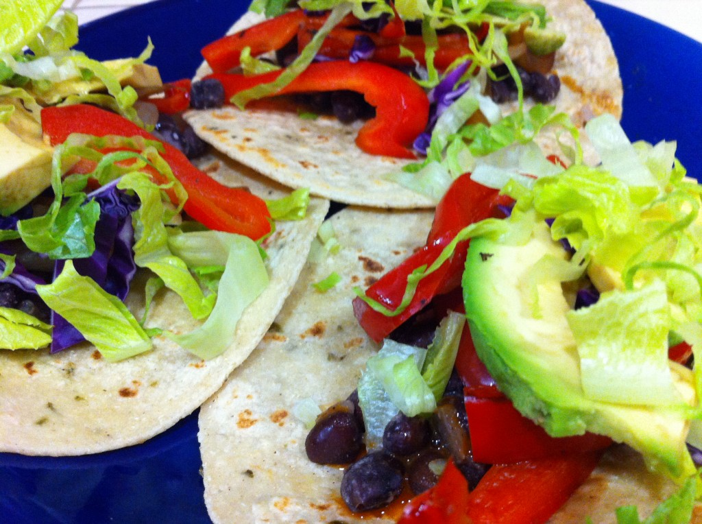 Hatch Green Chile Black Bean Tacos by Abi Cowell