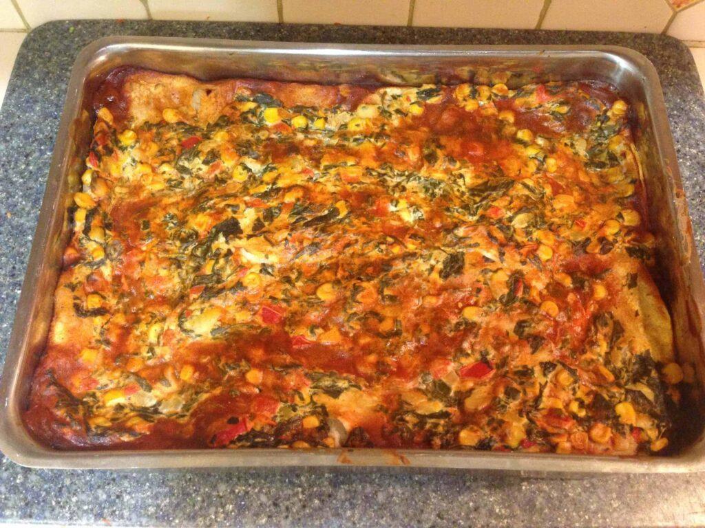 Tex Mex Spinach and Corn Enchilada Deep Dish