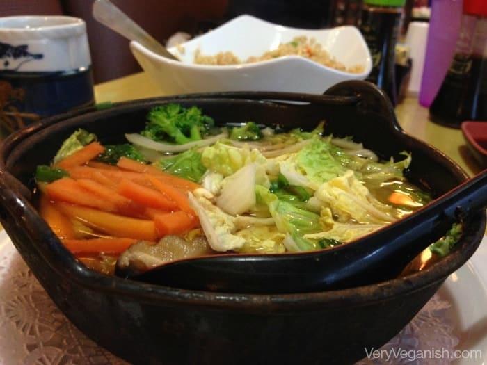 Vegetable Udon Noodle Soup at Oishii Japanese in Houston, Texas - VeryVeganish.com