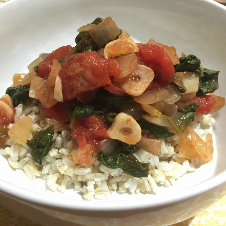 Stewed Tomato, Garlic and Onion Spinach