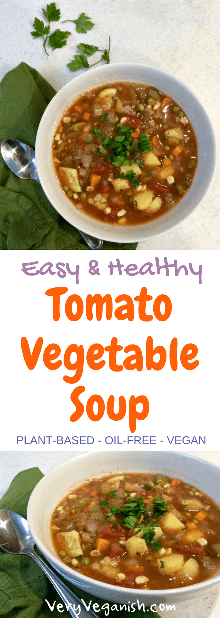 Easy Tomato Vegetable Soup for the Soul by Very Veganish