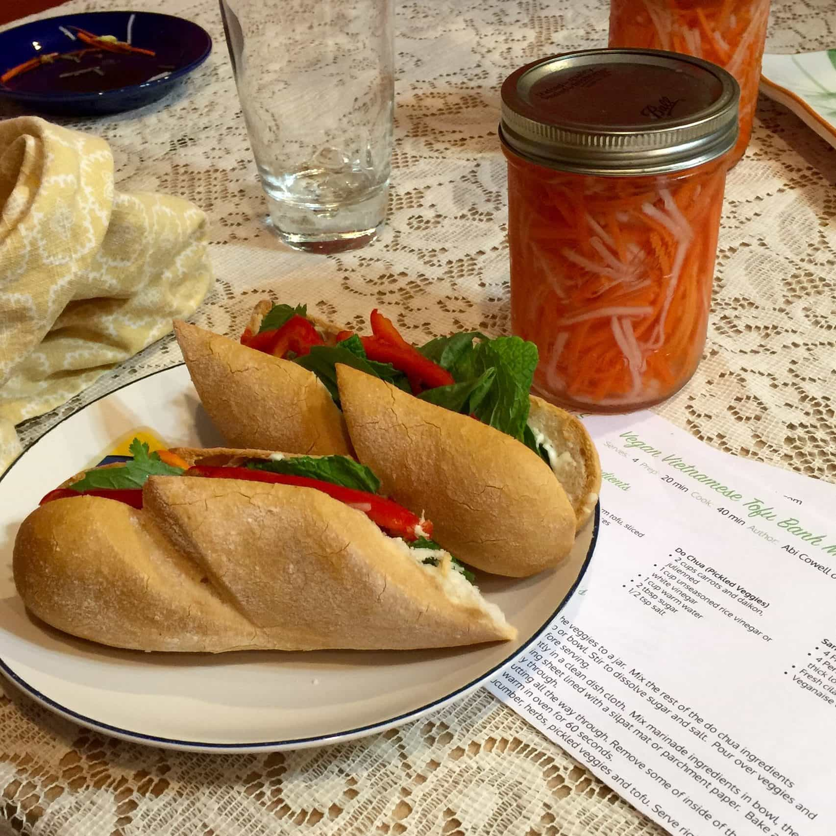 vietnamese banh mi do chua pickled carrot and daikon on gluten free bread