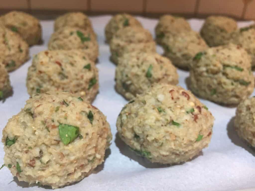 vegan eggplant meatballs before