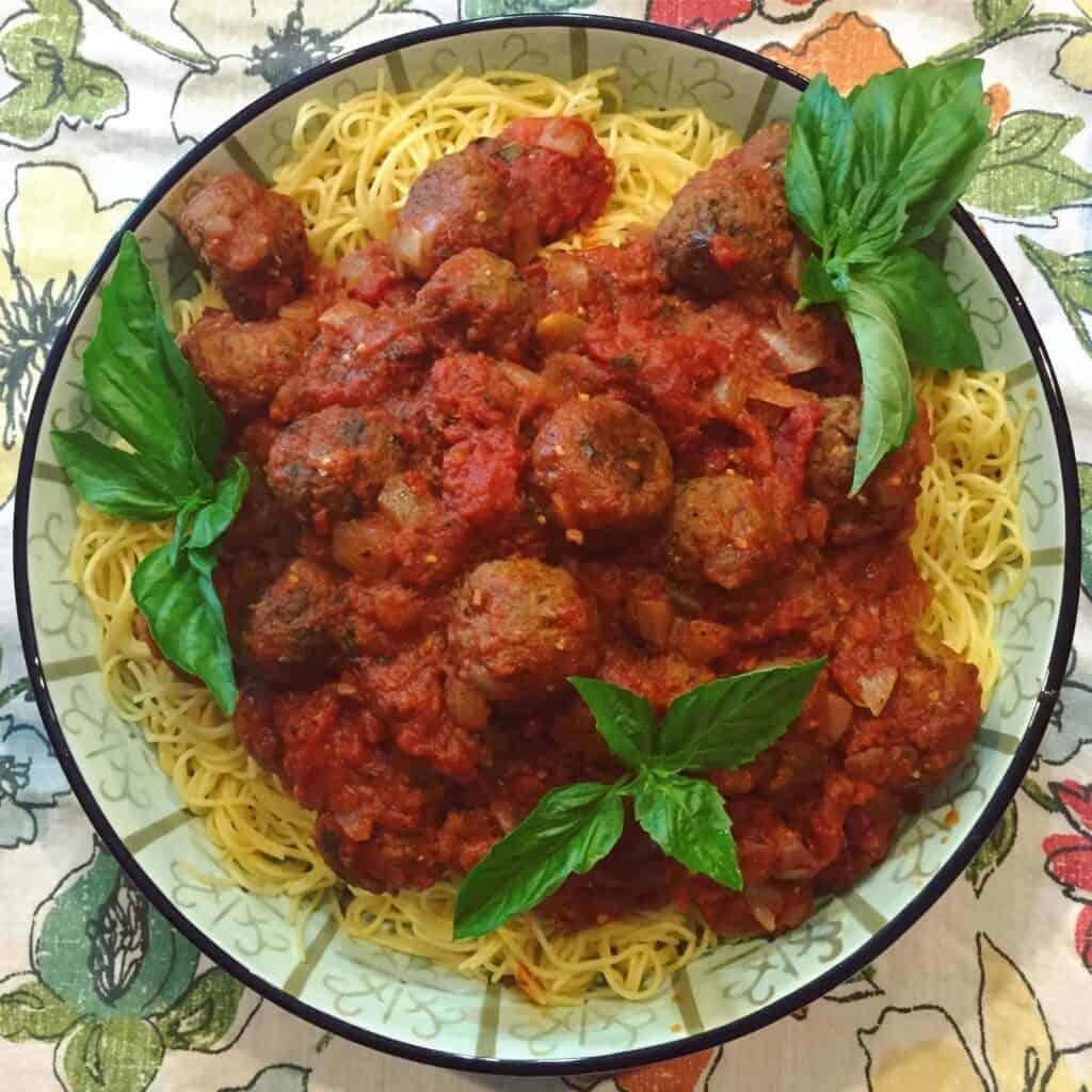 eggplant meatballs marinara with spaghetti