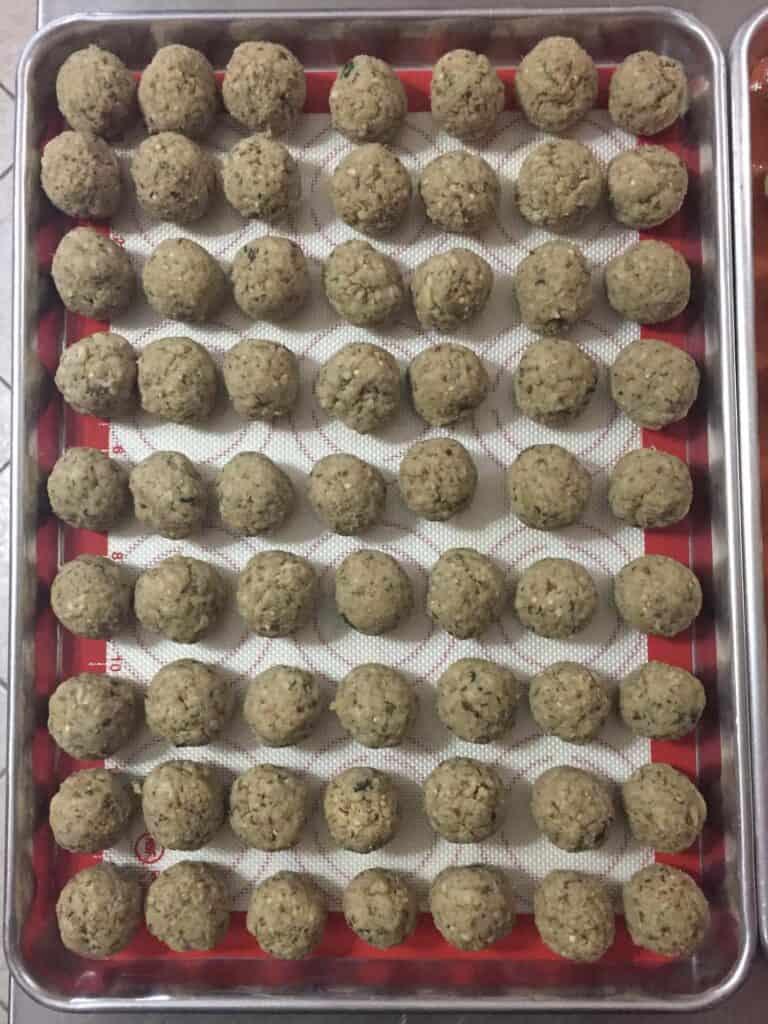 vegan eggplant meatballs before being baked