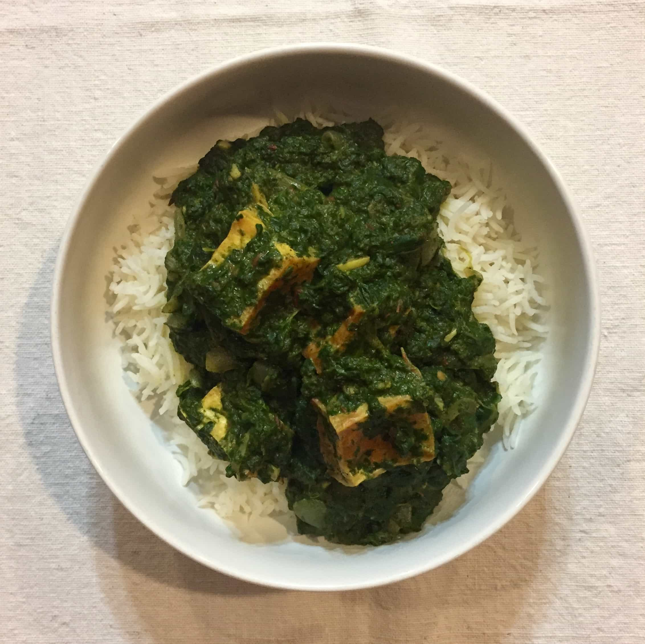 vegan saag paneer creamy spinach with indian spices recipe by Very Veganish