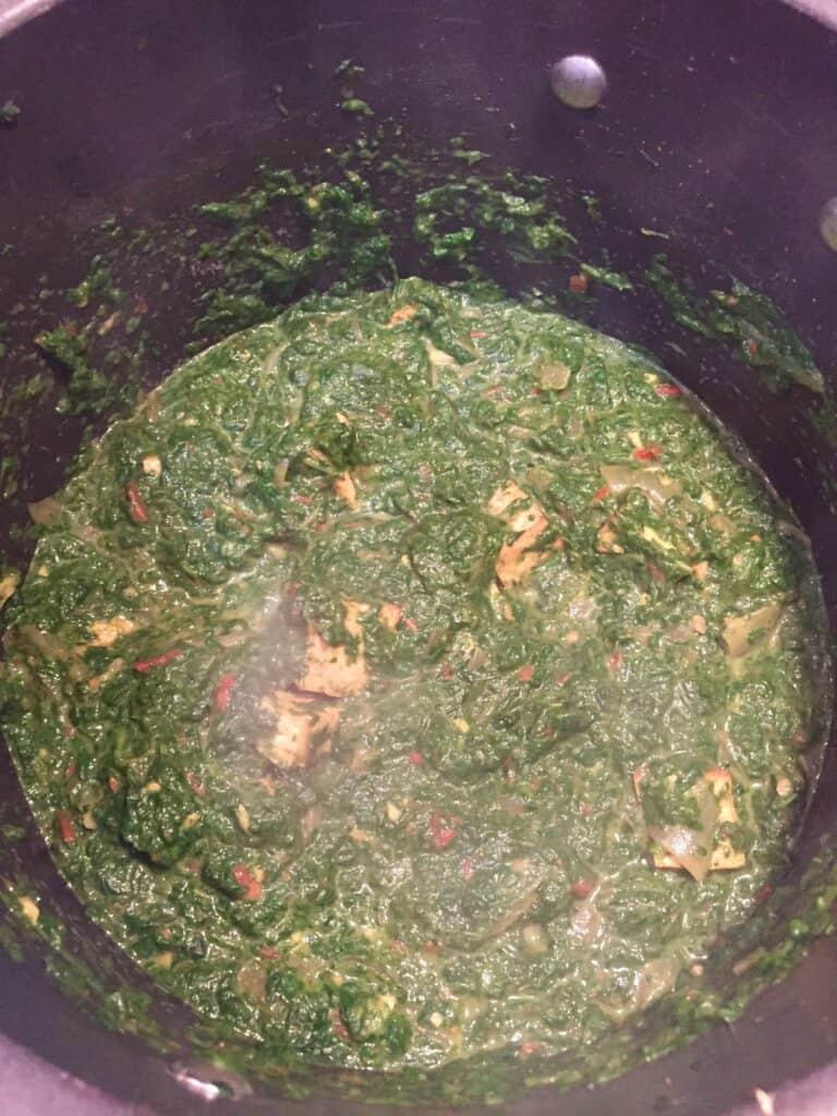 vegan saag paneer cooking