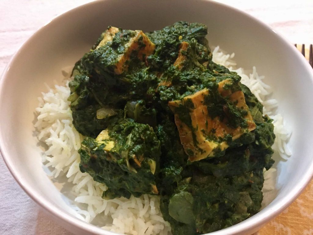 vegan saag paneer creamy spinach with indian spices