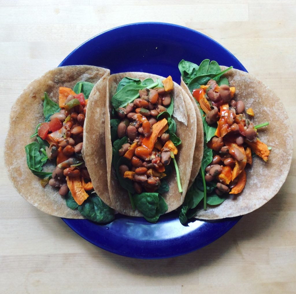 Spinach Sweet Potato Spicy Charro Bean Breakfast Tacos by Very Veganish
