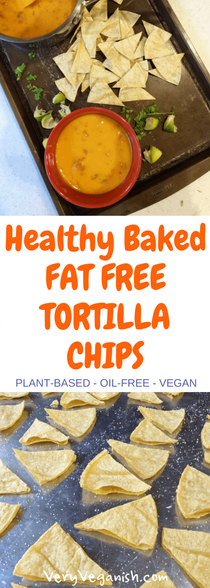 Healthy and Easy Homemade Baked Fat Free Tortilla Chips #bakedtortillachips #healthychips #healthytortillachips #chips #oilfreechips #fatfreechips