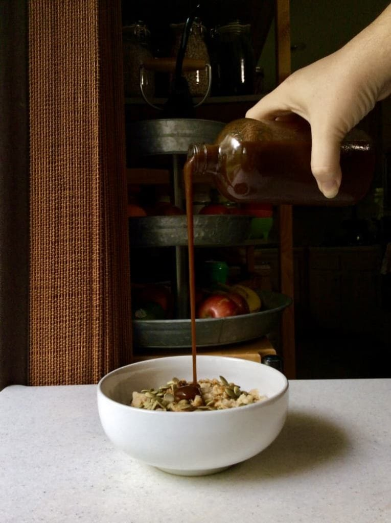 Pouring Pumpkin Spice Syrup Refined Sugar Free by Very Veganish