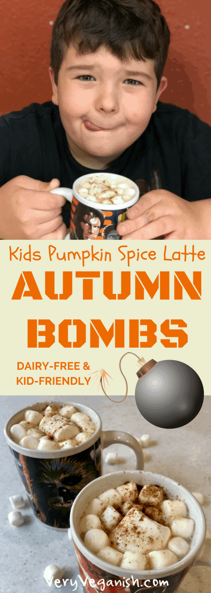 Autumn Bombs - Kids Pumpkin Spice Latte Steamer Recipe by Very Veganish. A great alternative to hot cocoa for those chilly fall days. Caffeine-free, dairy-free and refined-sugar free, this pumpkin spice syrup has many uses also. #psl #pumpkinspicelatte #pumpkinspice