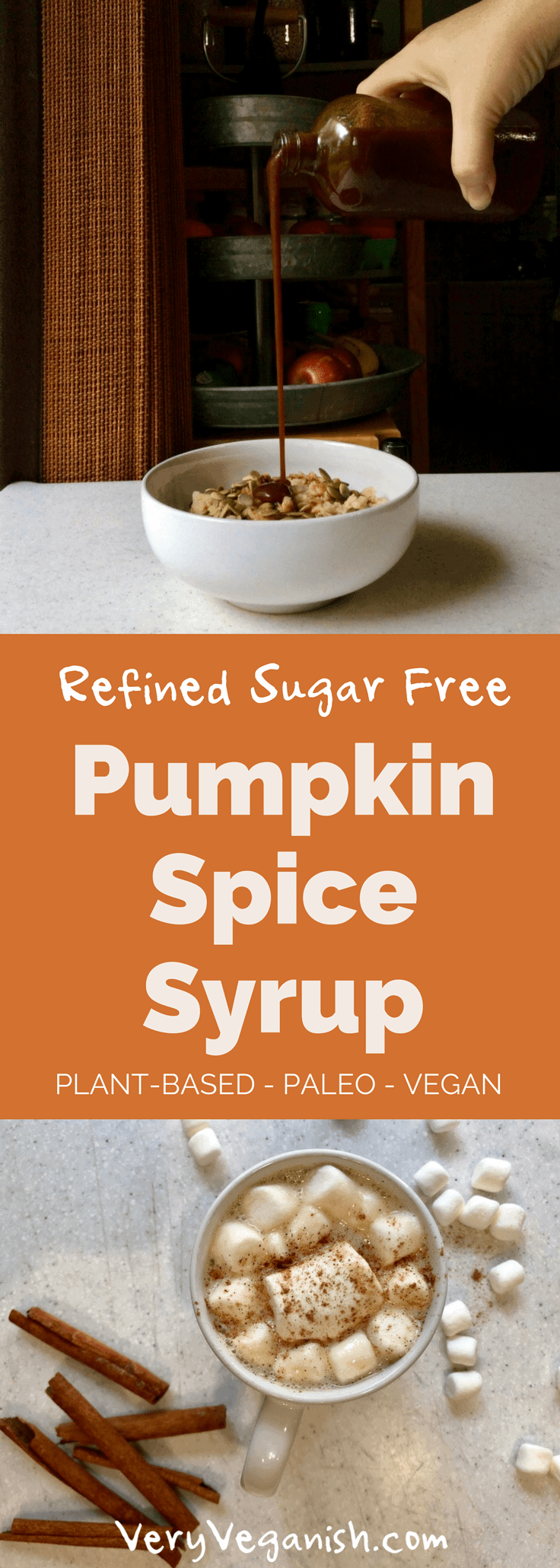 Pumpkin Spice Syrup Refined Sugar Free that's Paleo, Vegan and Plant-based. Kids love it and it's great for pumpkin spice lattes, oatmeal, pancakes or waffles! by Very Veganish