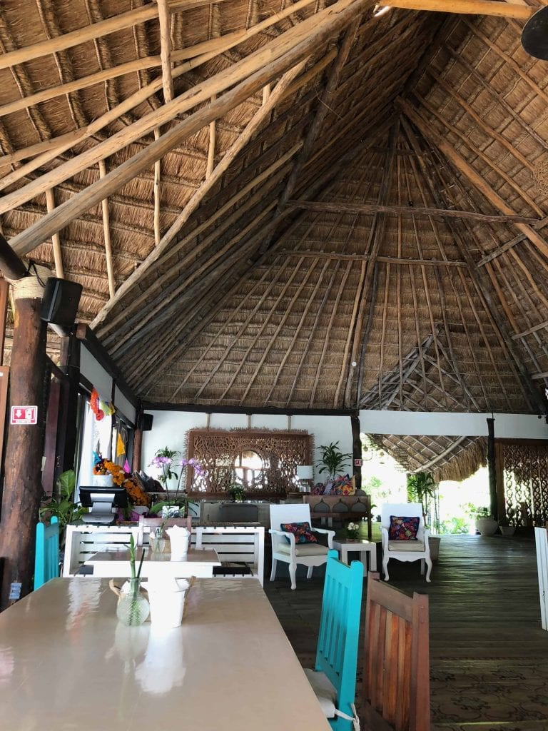 huge palapa beach and ocean view at el pez hotel tulum restaurant for breakfast before going to coba