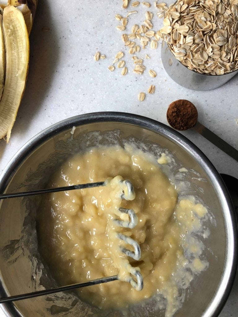 mashed banana, cinnamon, oats, banana peels