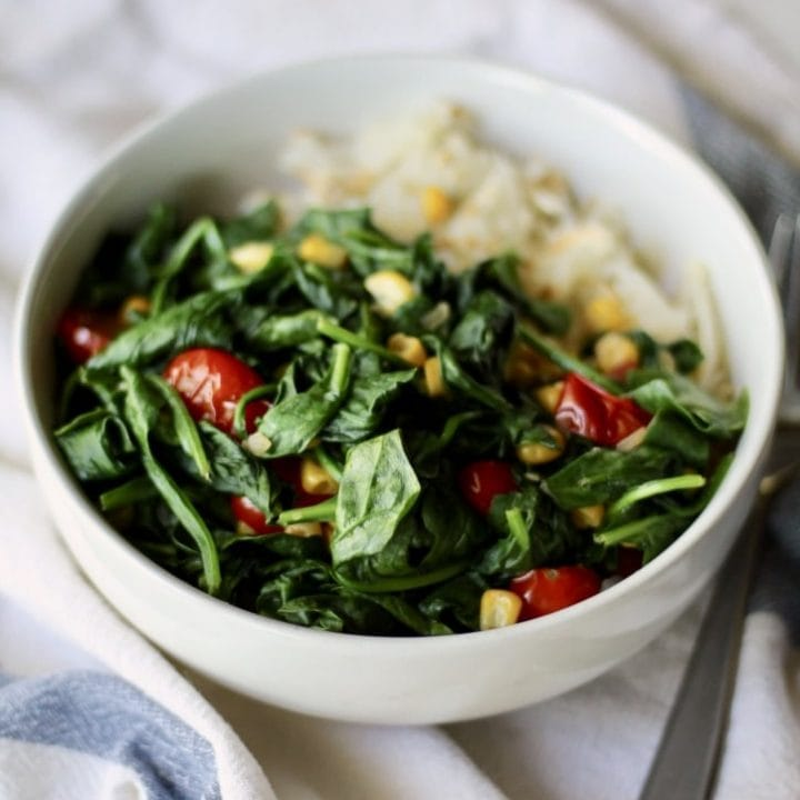 Hash Brown Breakfast Bowl with Spinach, Corn and Tomato