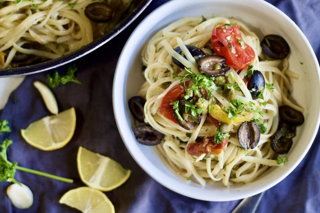 Bowl of pasta with lemon slices