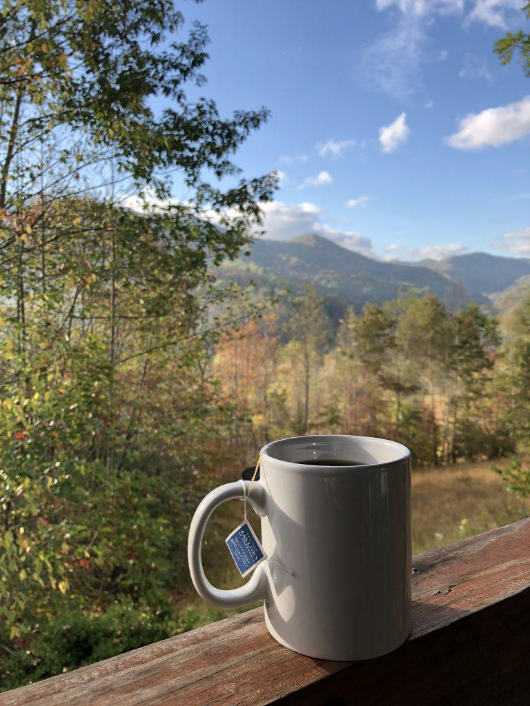 tea on porch overlooking mountains