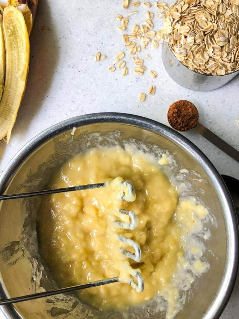 process shot mashed banana