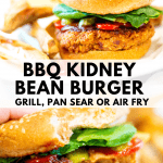 kidney bean burger with homemade fries