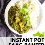 vegan saag paneer in a bowl