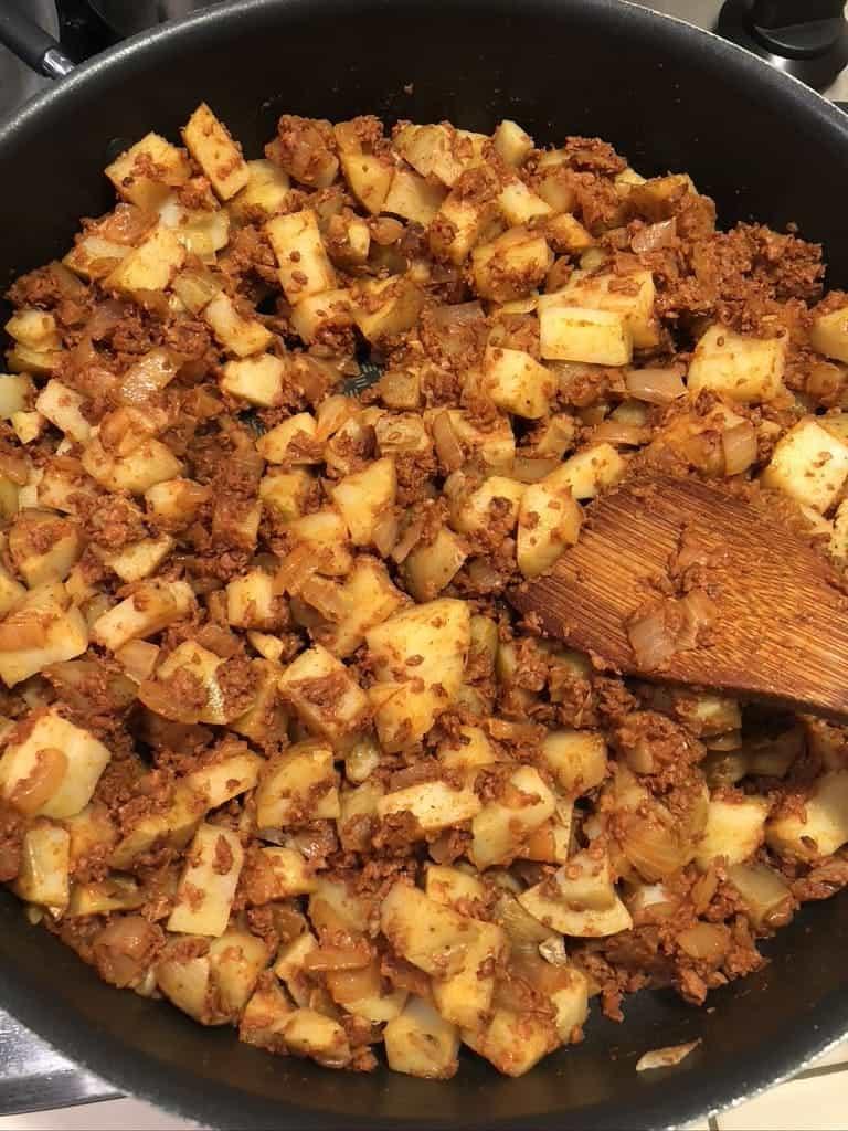 process - adding potatoes