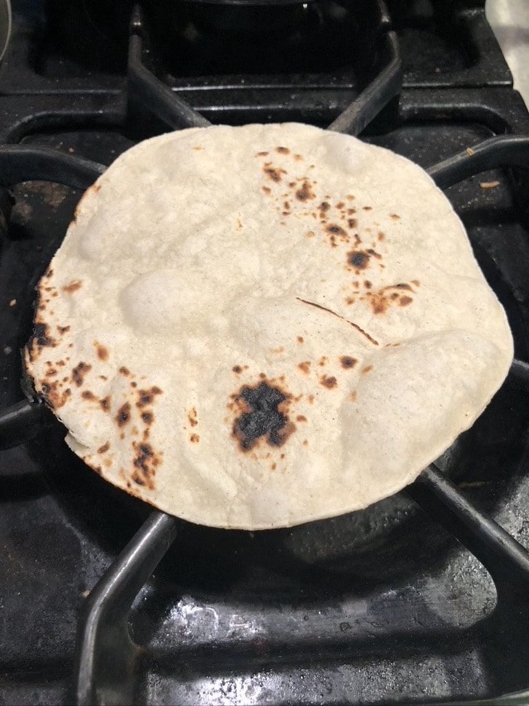 process - warming corn tortillas