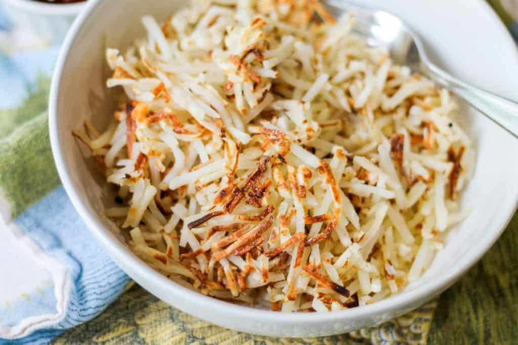 cooked hash browns in bowl