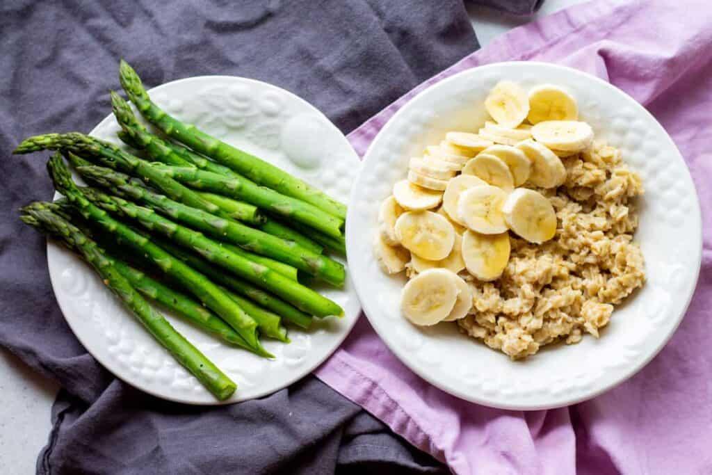 oatmeal, bananas and asparagus