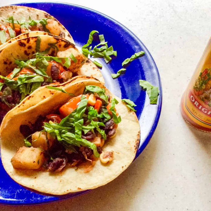 tacos on blue plate