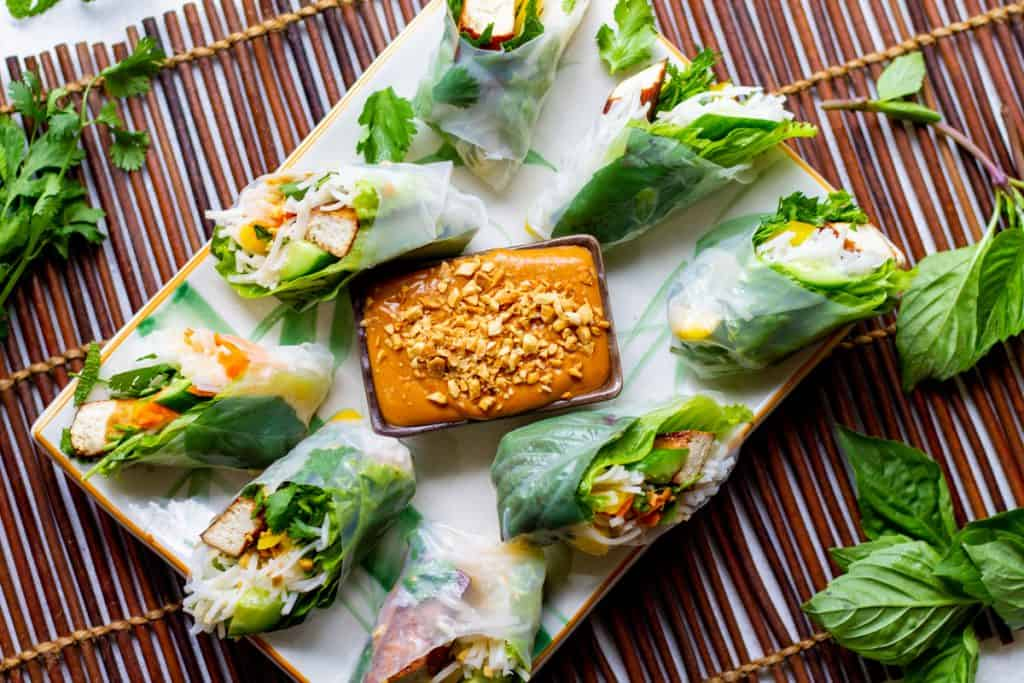 plate of spring rolls