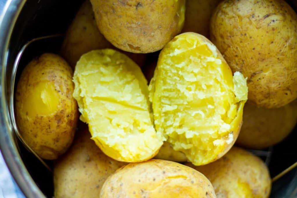 closeup cooked potato